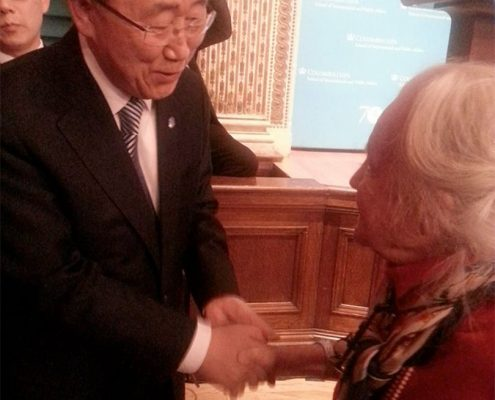 Ban Ki Moon with Maristella Lorch at Italian Academy on October 26th, 2016